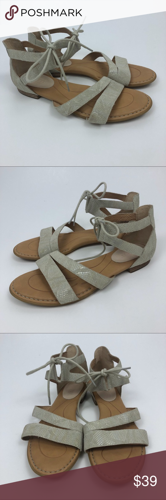 847ccb9b06f7 BORN Casma Snake Print Leather Gladiator Sandals BORN Womens Size 9 Casma  Snake Print Leather Gladiator Sandal Shoes Creme Gently pre-owned condition  with ...