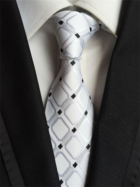 Men/'s Blue Silver Plaid Neck Tie with Pocket Square Necktie