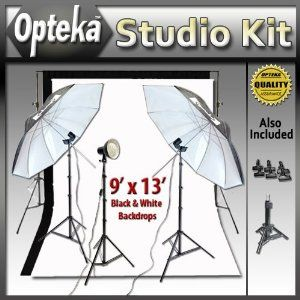 Portrait Studio Starter's Kit by Opteka Package Includes: Opteka BDS100 Heavy-Duty Professional Photography Backdrop Supporting System, Opteka Black and White 9' X 13' Muslin Professional Backgrounds (100% Cotton) 2 x 45-inch Lighting Umbrella Kits and More (Electronics)  http://skyyvodkaflavors.com/amazonimage.php?p=B004UQVDA6  B004UQVDA6