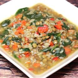 Spinach Lentil Soup Recipe - Make it hearty by following the recipe, or do what I did and leave out the meat but add more veggies for a light lunch. @Allrecipes.com #myplate