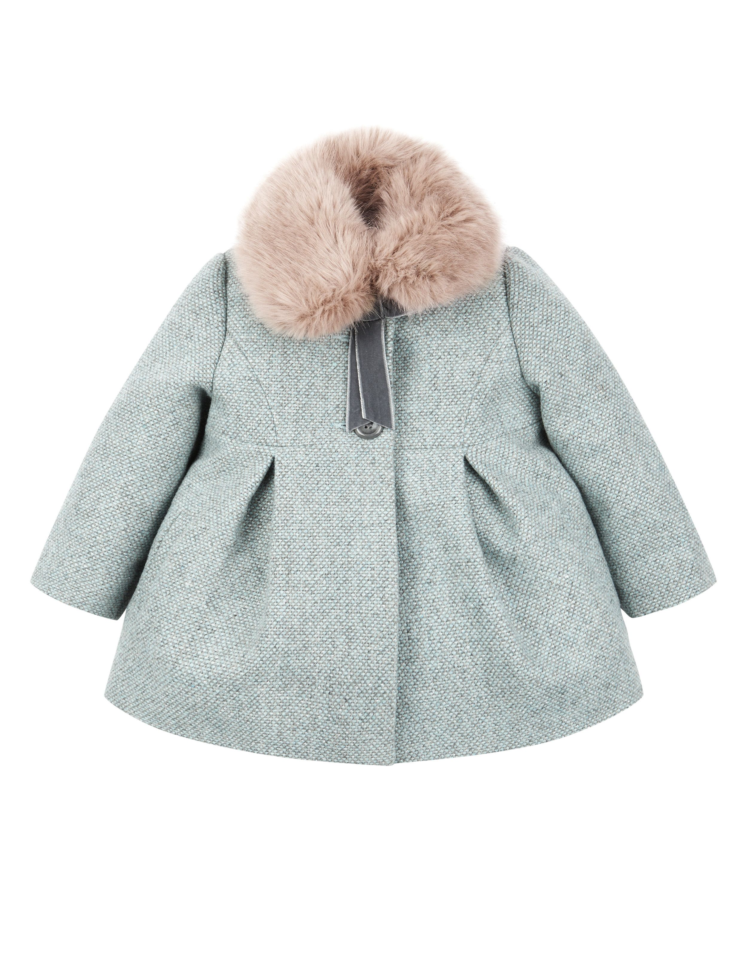 d9940bb38 Baby Alice Aqua Tweed Coat | Blue - I would like it better without the fur,  but it is still very pretty. | Monsoon