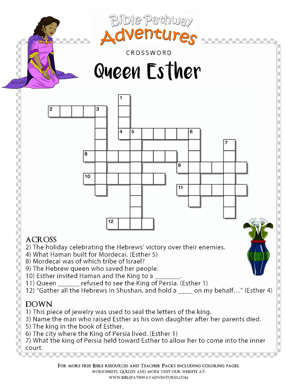 Bible Crossword Puzzle: Queen Esther | Queen esther, Free bible and ...