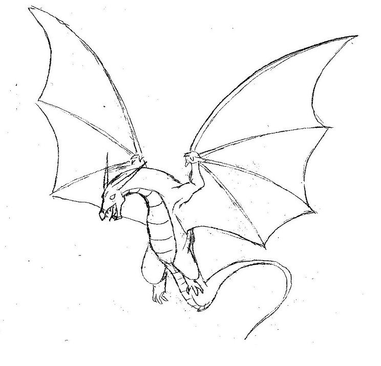 simple dragon drawings with wings Flying dragon by