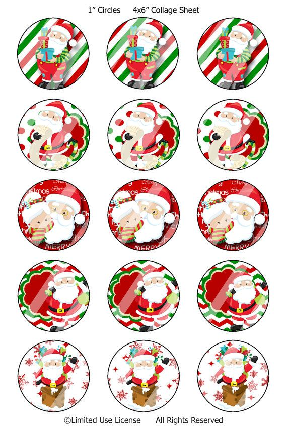 Christmas Santa Bottle Cap Images by MaleriesSassyBowtque on Etsy