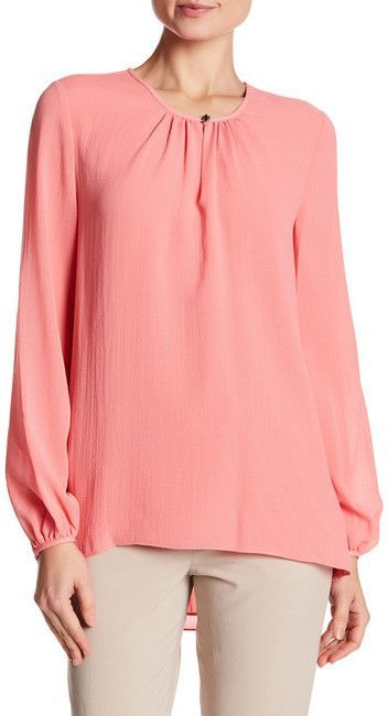 Ellen Tracy Shirred Neck Blouse
