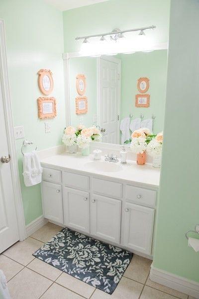 Serene Coral Combinations Mint Grey Cream Coral Bathroom