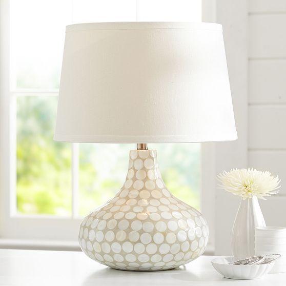 Capiz inlay lamp pbteen lamp base 13 75 diameter 18 high shade