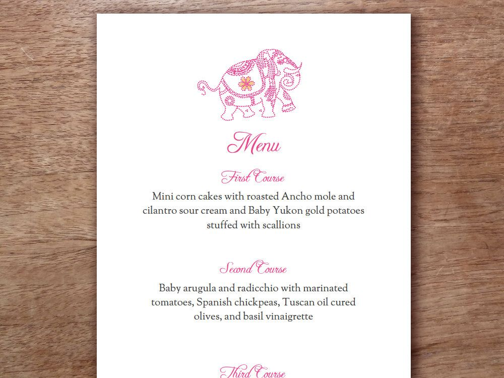 Pink Indian Elephant Printable Menu Template - Wedding Menu ...