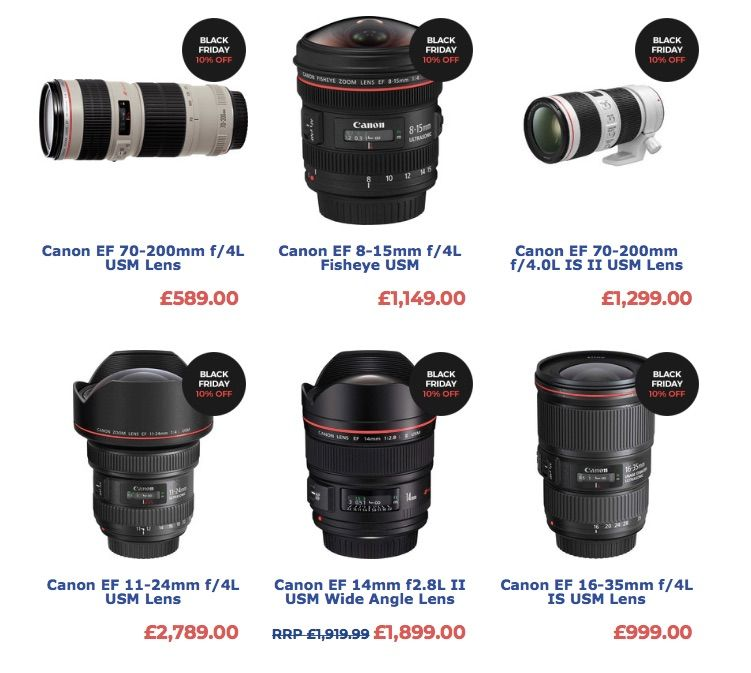 Uk Black Friday Save 15 On Canon Lenses And More Black Friday Discounts Uk Based Park Camera Is Offering A 1 Discount Black Friday Canon Lenses Black Friday