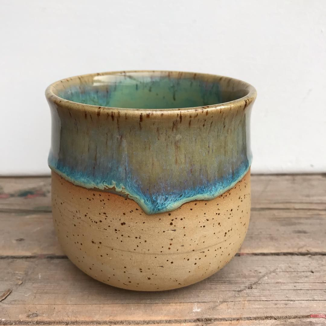 Glazed with Amaco potter's choice oatmeal over textured turquoise. #pottery #potterylove #pottersofinstagram #instapottery #ceramics… #potteryglazes
