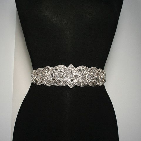 Bridal Sash with Highly Detailed Crystal Applique | Giavan