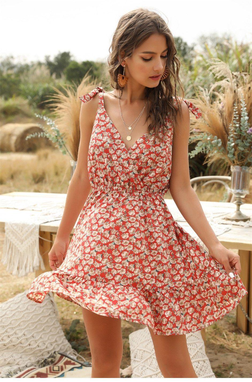 New Summer Spaghetti Strap Short Dress Summer Dresses For Women Short Dress Red Short Beach Dresses [ 1429 x 943 Pixel ]