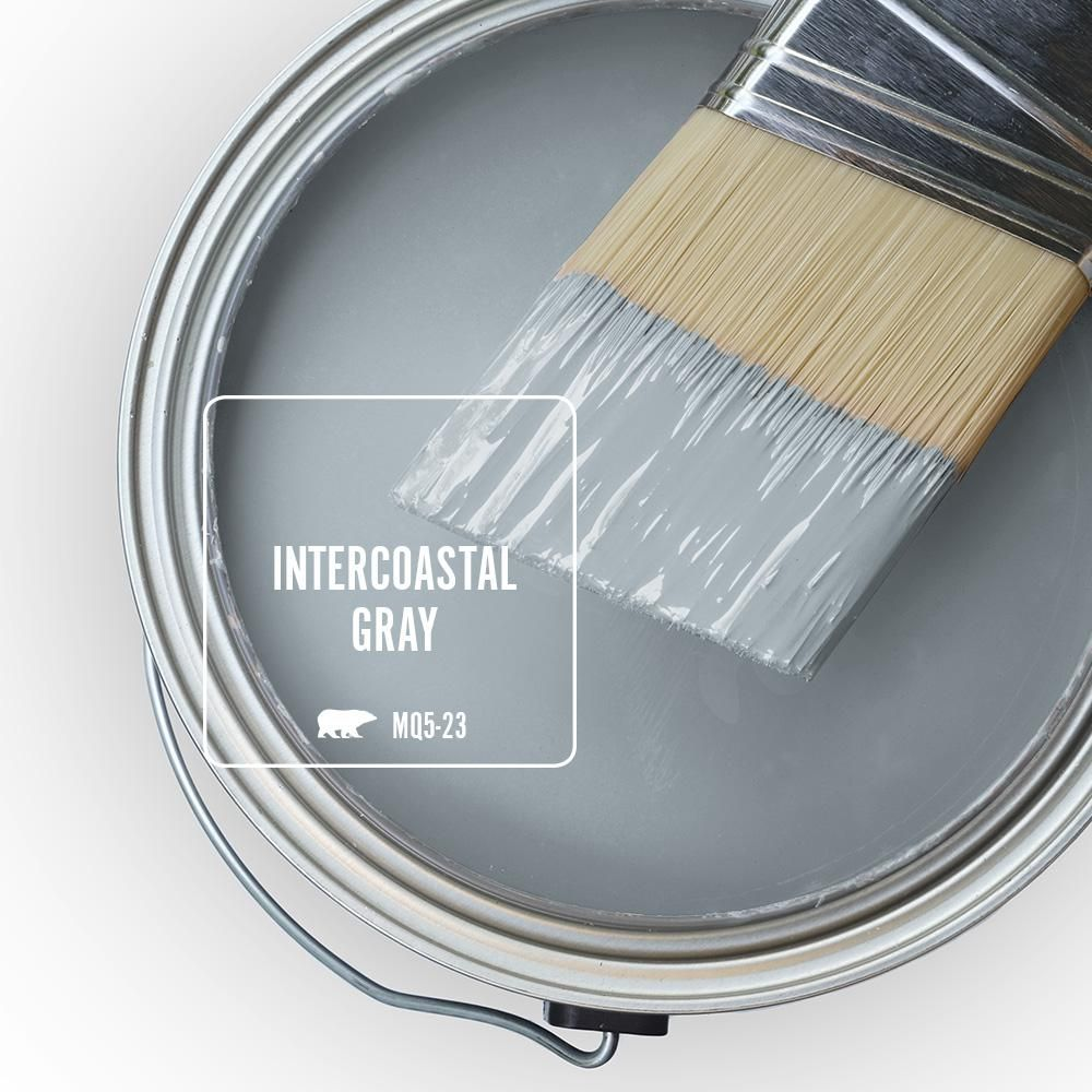 Behr Marquee 1 Gal Mq5 23 Intercoastal Gray One Coat Hide Satin Enamel Interior Paint Primer 745001 The Home Depot Paint Colors For Home Painting Bathroom Room Paint Colors