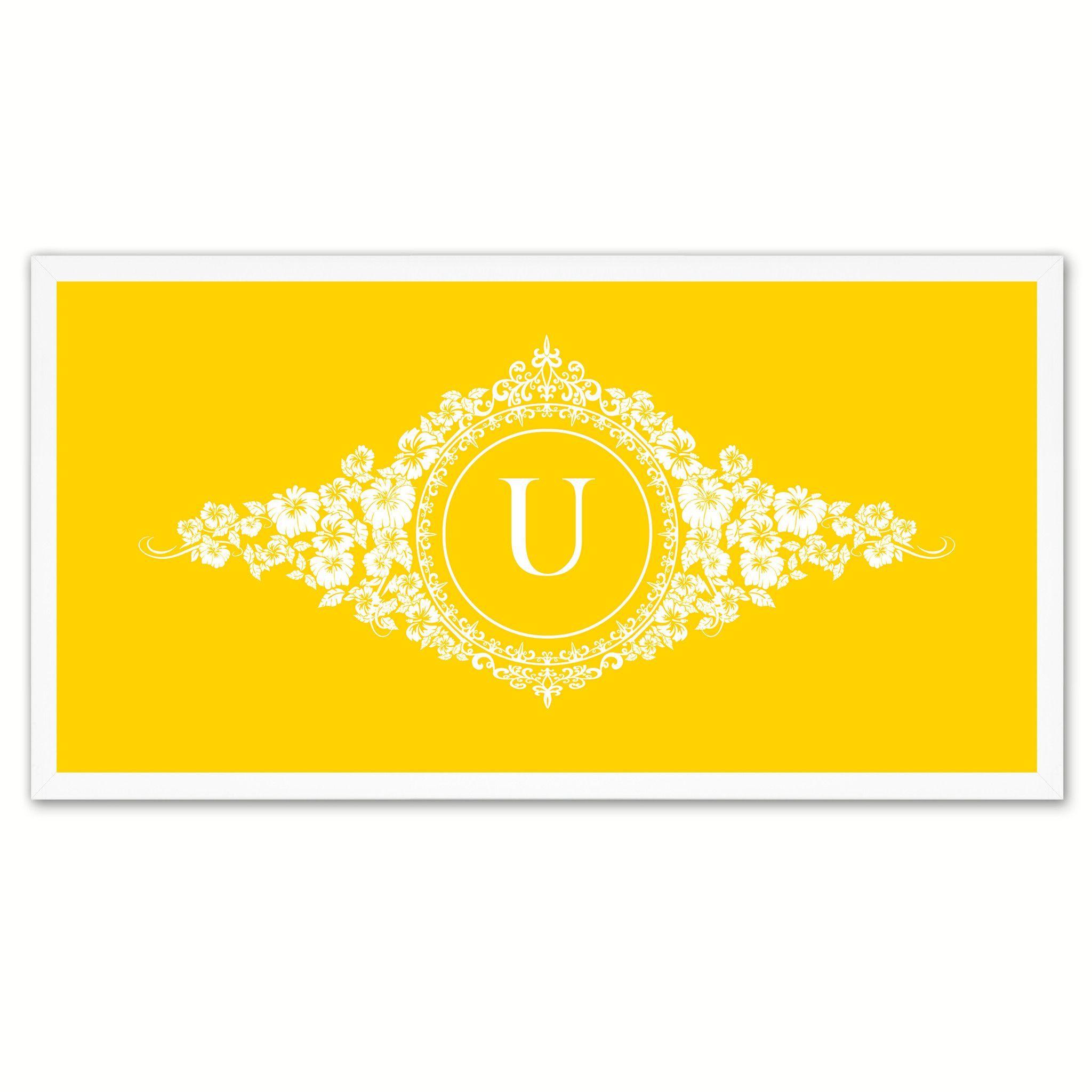 Alphabet Letter U Yellow Canvas Print White Frame Kids Bedroom Wall ...