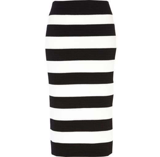 I M Shopping Black And White Stripe Bandage Midi Skirt In The