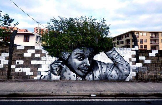 Cuando el arte callejero se mezcla con la naturaleza