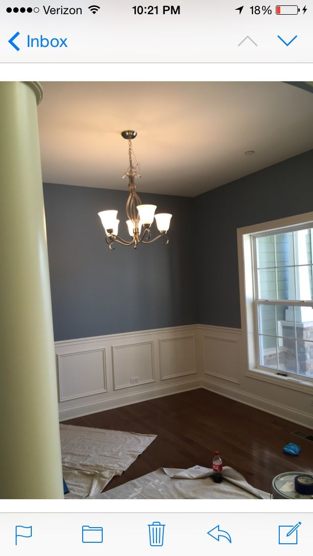 Van Courtland Blue By Benjamin Moore Great Blue Color For Our Dining Room Dining Room Blue Dining Room Wall Color Blue Dining Room Walls