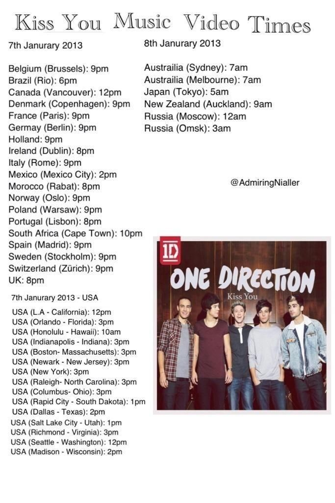 World Wide Kiss You Music Video Release Times. Phoenix time in the USA was 1 p.m today XD