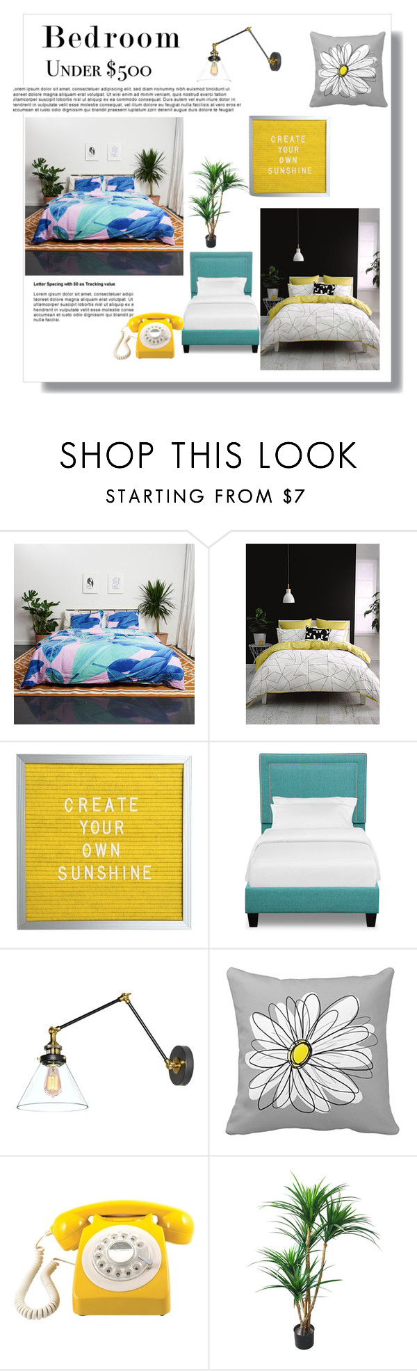 """Bedroom"" by fourmouziliana ❤ liked on Polyvore featuring interior, interiors, interior design, home, home decor, interior decorating, Linen House, GPO, bedroom and bedroomunder500"