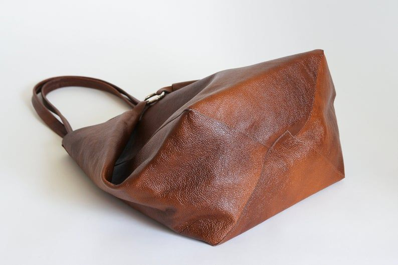 Cognac Brown Oversize Shopper Bag Large Leather Tote Bag Etsy In 2020 Large Leather Tote Bag Leather Shoulder Bag Shopper Bag