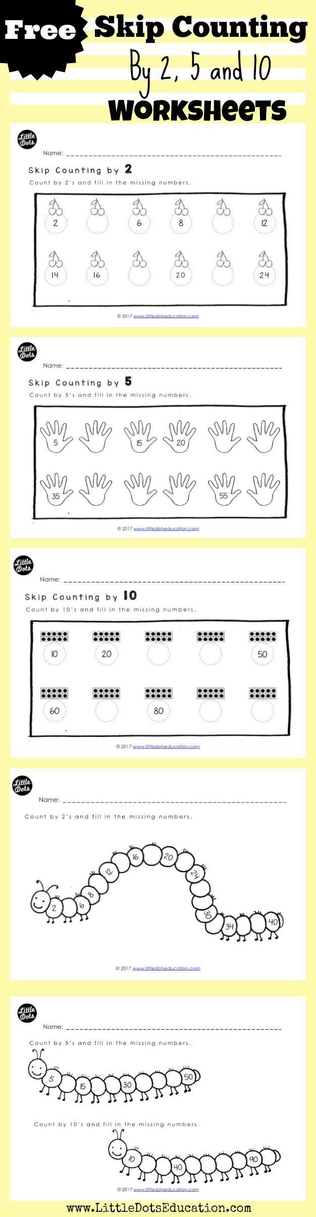 Free Skip Counting Worksheets And Activities For Kindergarten To