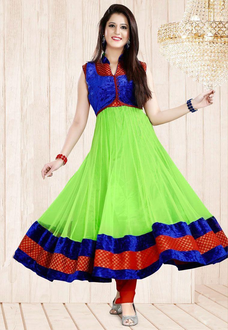 An alluring Green & Blue Color Designer Anarkali Suit showcasing a Velvet and Zari embellished bodice and border