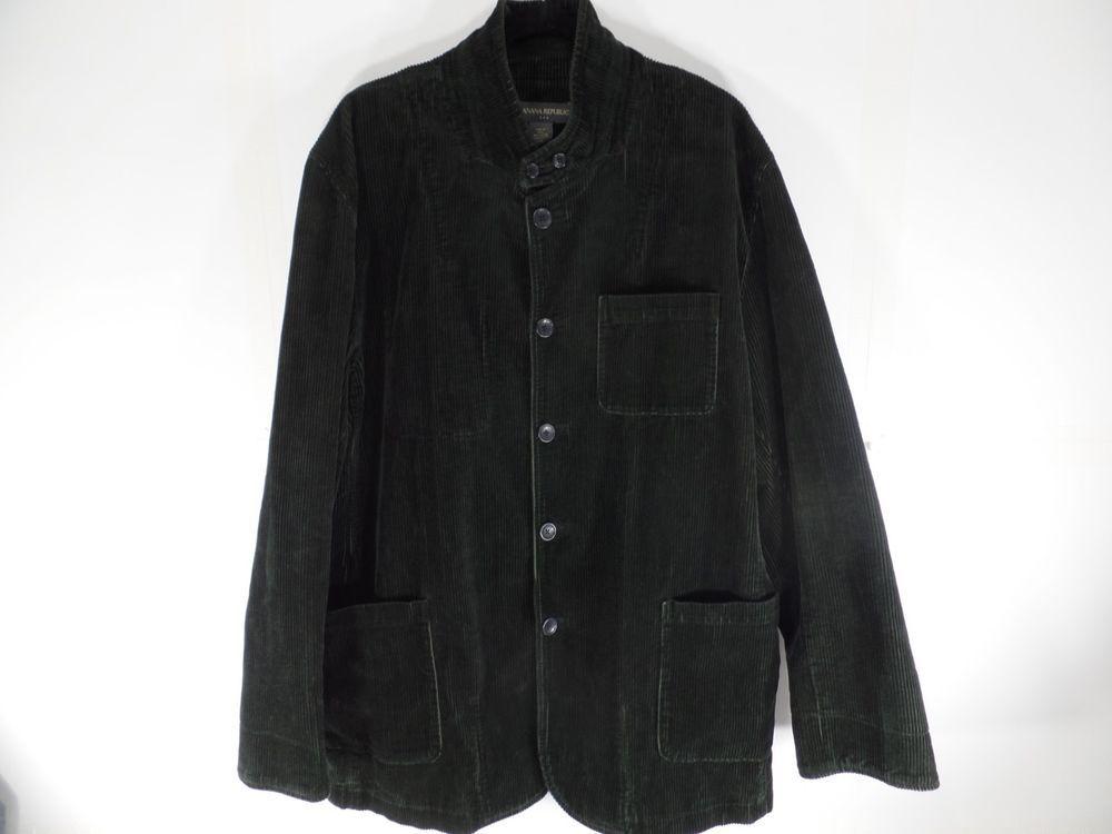 Banana Republic 2XL Mens Corduroy Coat Jacket Forest Green XXL Button Front #BananaRepublic #BasicCoat
