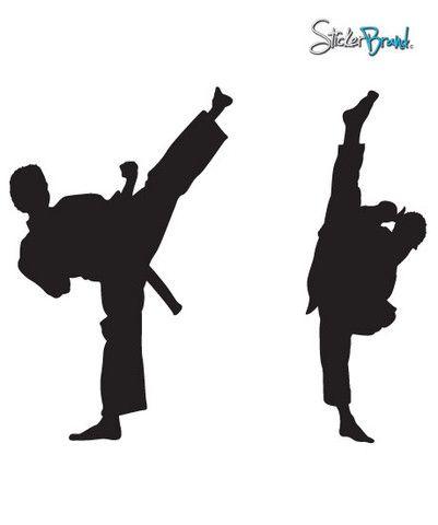 Vinyl Wall Decal Sticker Dual Karate High Kick 6ft Tall 352 Karate Vinyl Wall Decals Wall Decals