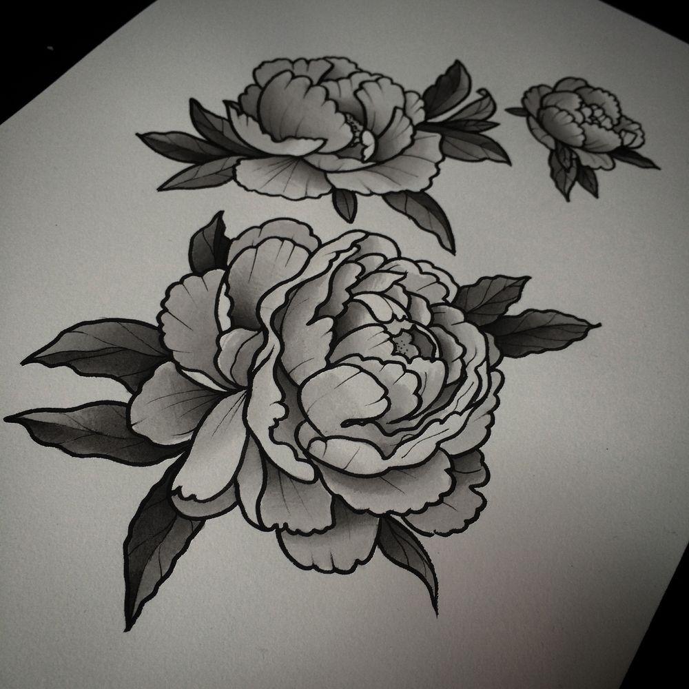 Peony Tattoo Black White Recherche Google Tattoos Pinterest