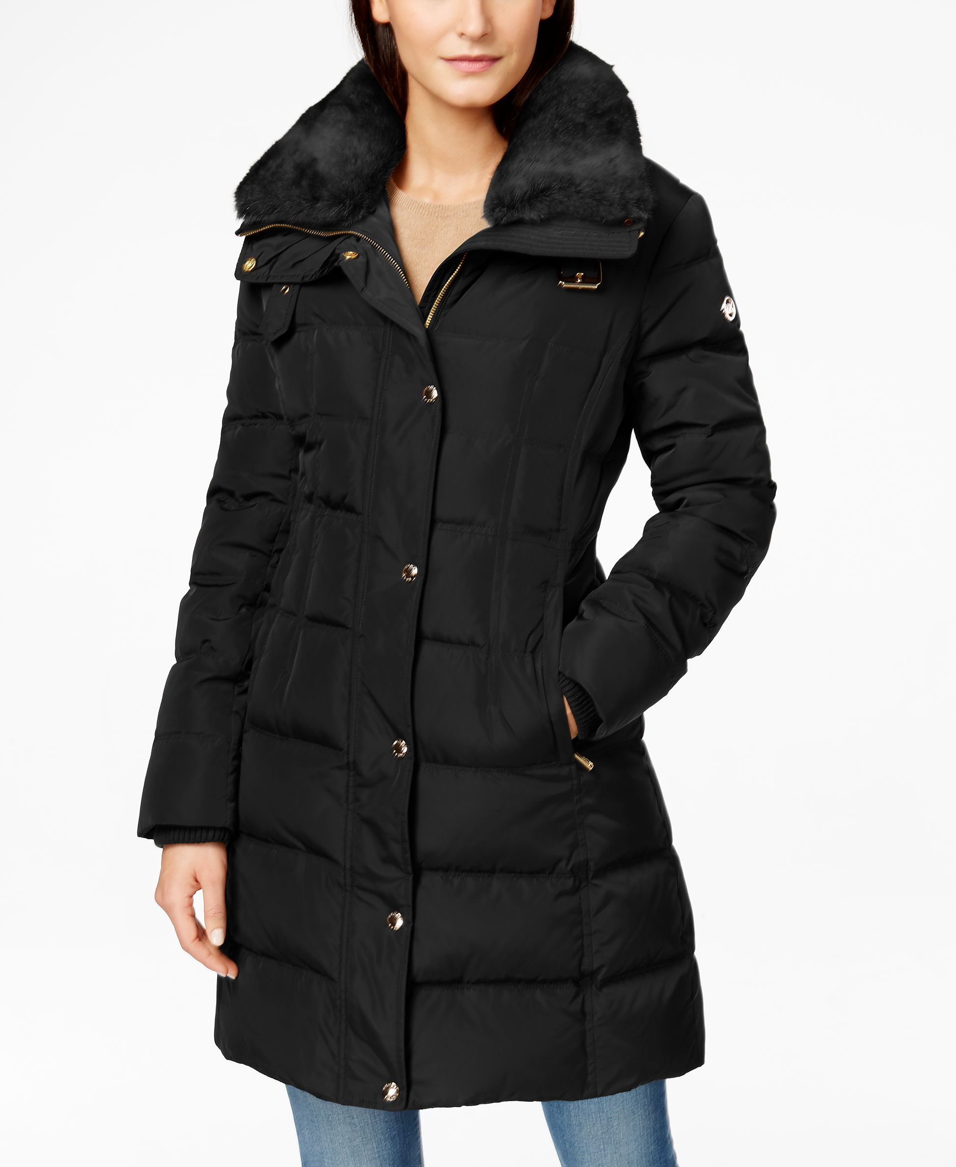 0c17a75586d MICHAEL Michael Kors Faux-Fur-Collar Quilted Puffer Down Coat - Coats -  Women - Macy s