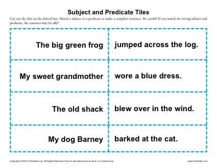Subject and Predicate Tiles | Worksheets, Activities and Sentences