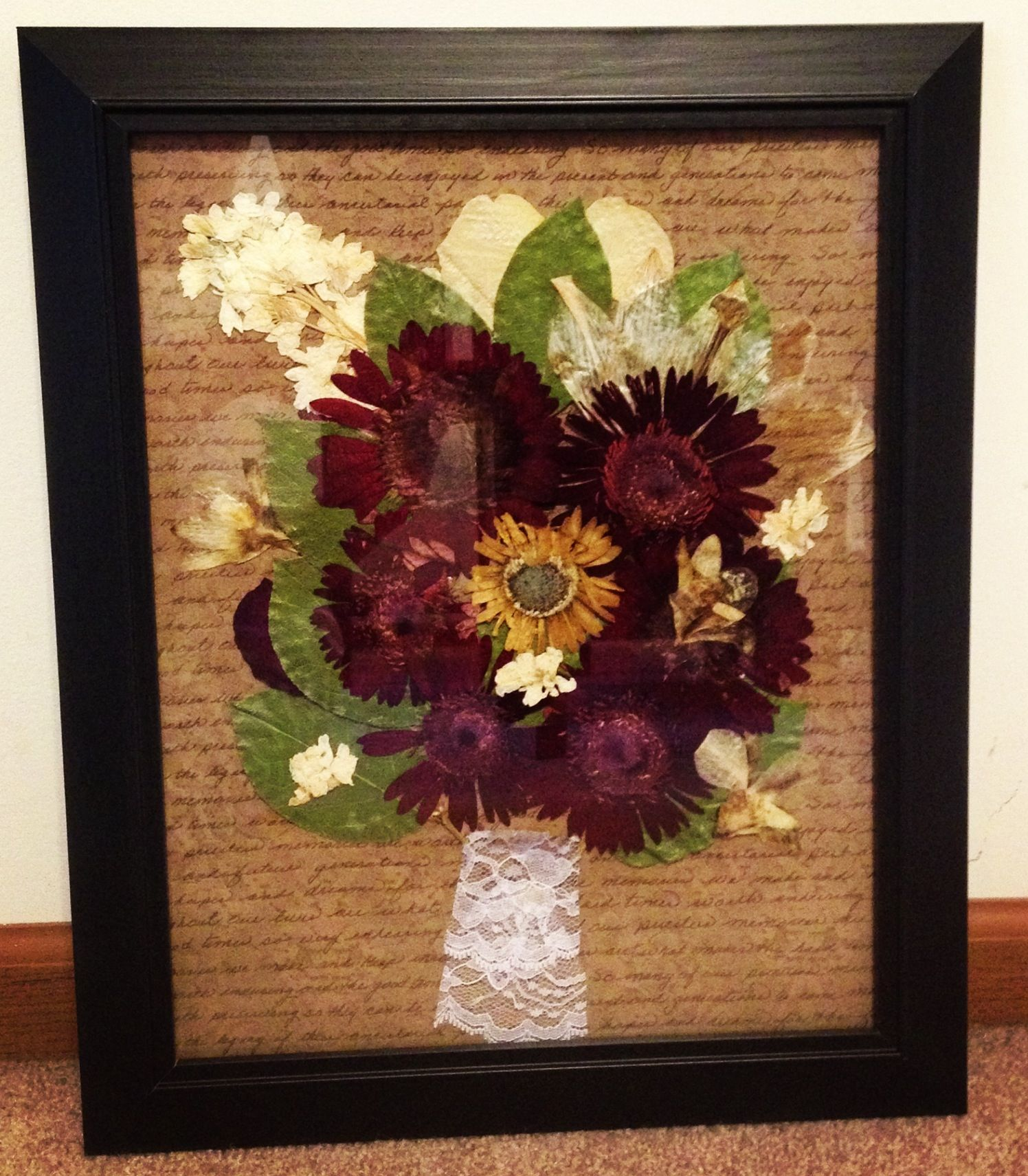 My Wedding Bouquet After The Flowers Dried Used 11x14 Picture Frame Scrapbook Paper And Mod Podge To Attach The Flowers