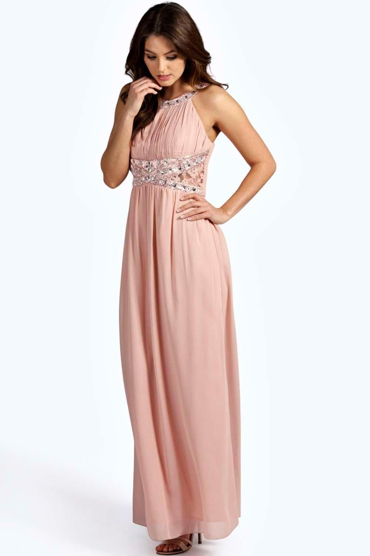 Katie Embellished Lace Detail Chiffon Maxi Dress | Boohoo, Modern ...