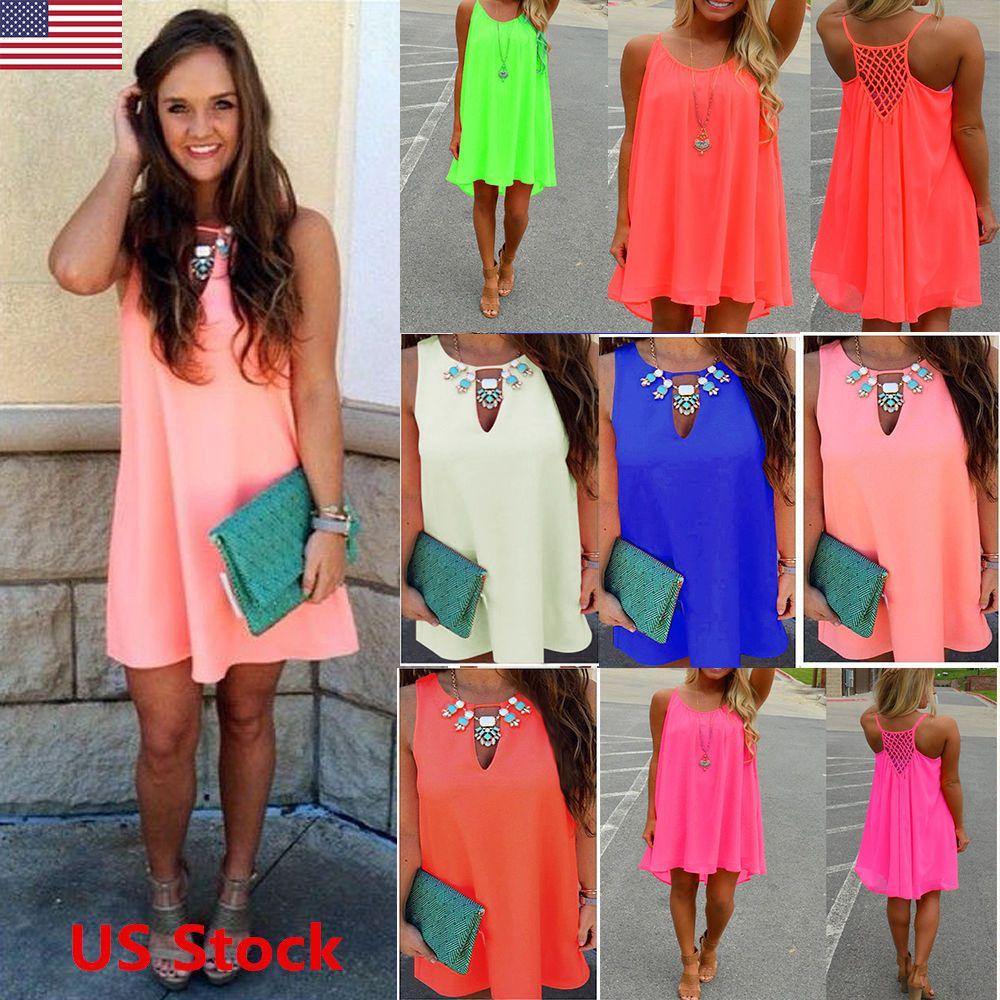 Nice Women\'s Summer Casual Sleeveless Evening Party Beach Dress ...