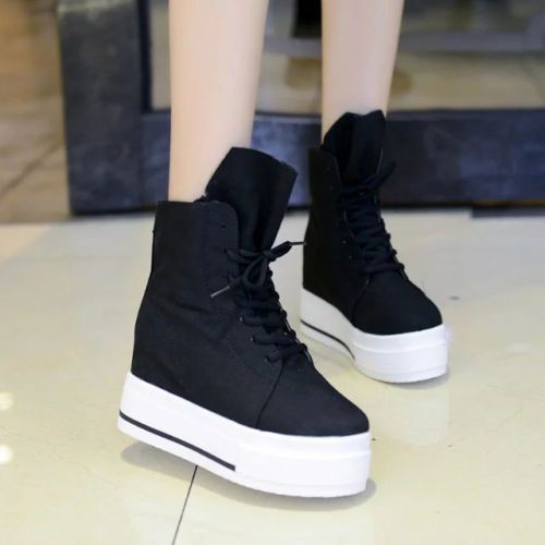 Women's Casual Platform Hidden Sneakers High Top Shoes Canvas Ankle Boots Vogue