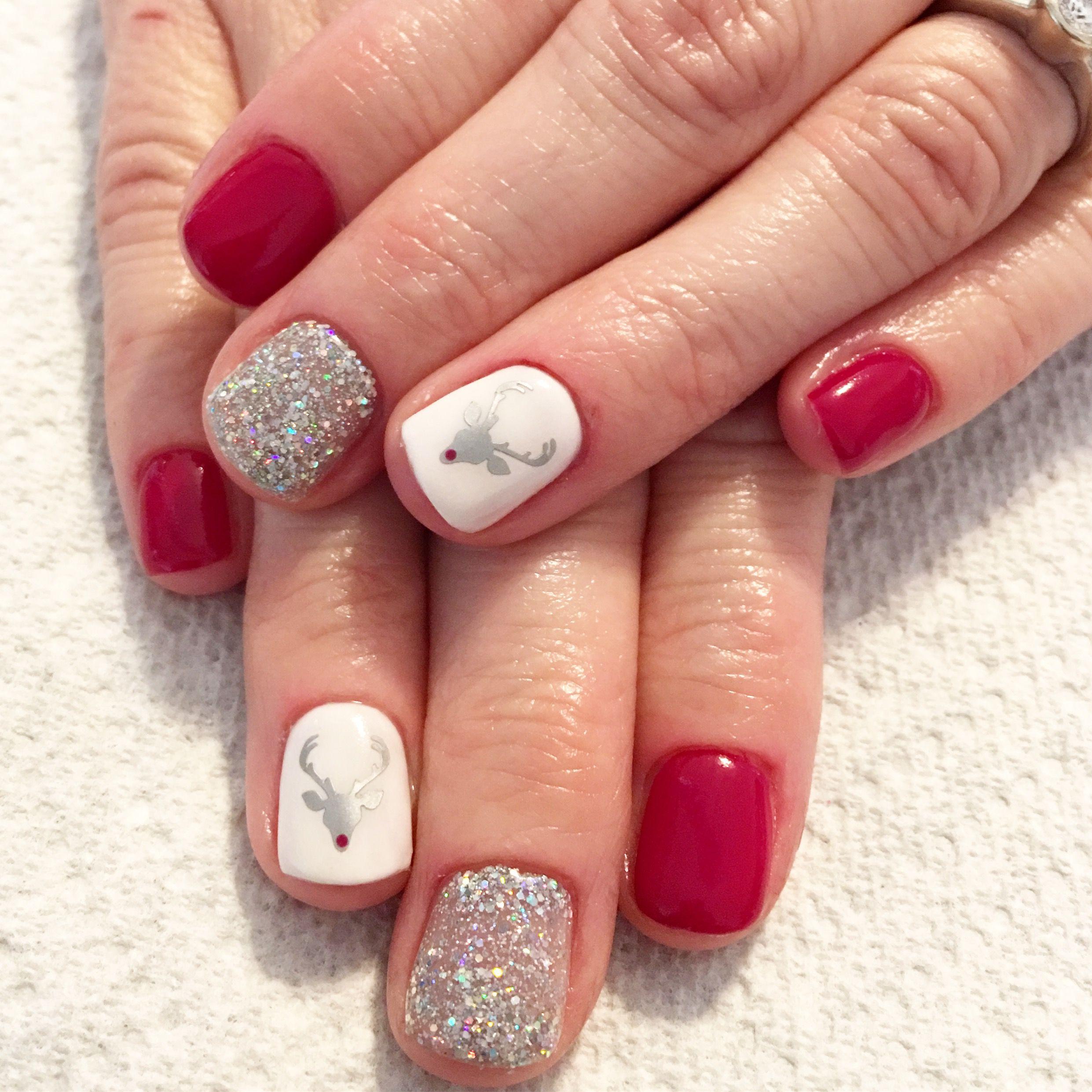 Rudolph nails. Reindeer nails. Gel nails. Christmas nails | Nails I ...