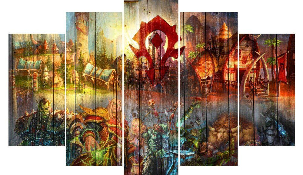 Wow Horde High Quality 5 Piece Art Canvas Print World Of