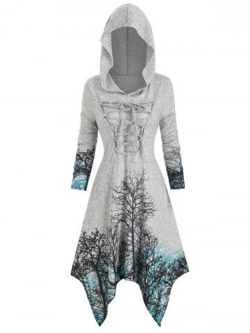 Plus Size Halloween Lace Up Tree Print Knitted Dress