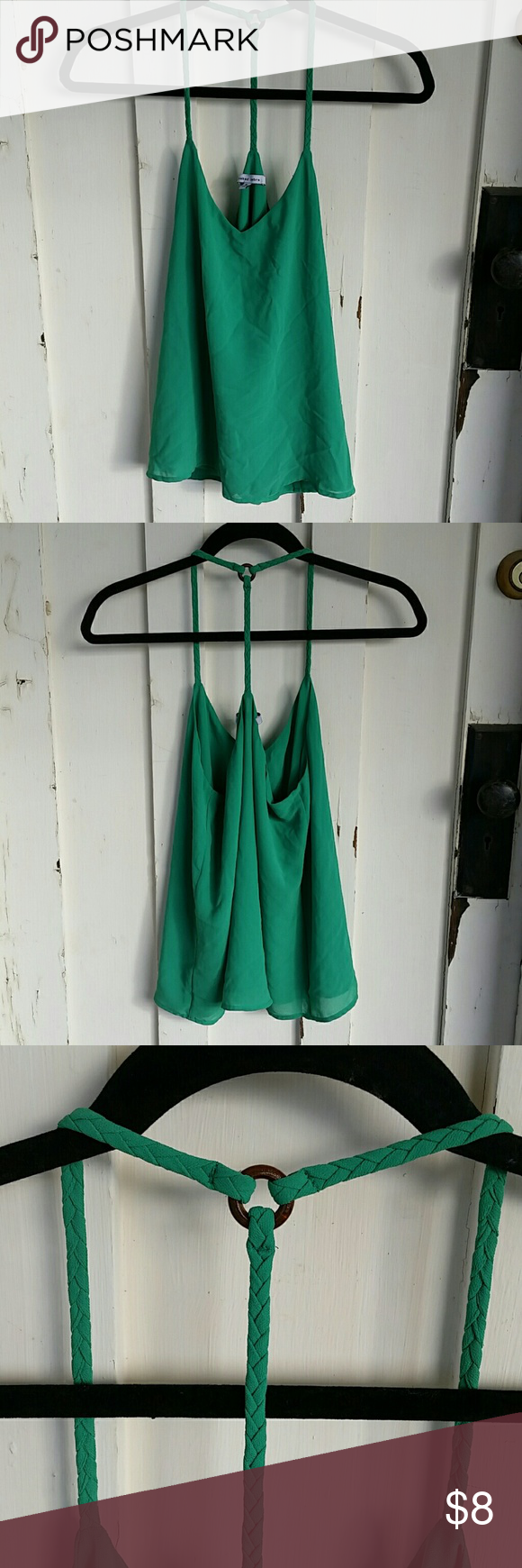 Green Tank Top Bright Green colored tank, braided straps with a wooden accent Made of polyester Zebra Tops Tank Tops