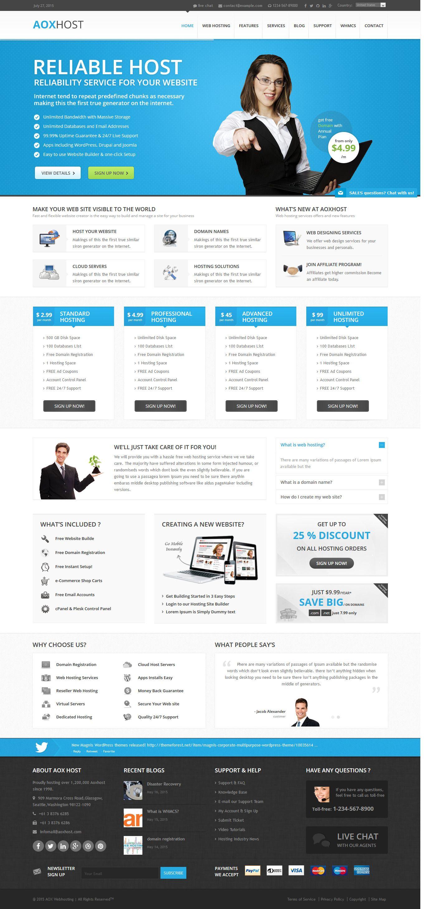 AOX HOST - A Professional Hosting Theme + WHMCS Theme #webdesign #website Download: http://themeforest.net/item/aox-host-a-professional-hosting-theme-whmcs/12148935?ref=ksioks