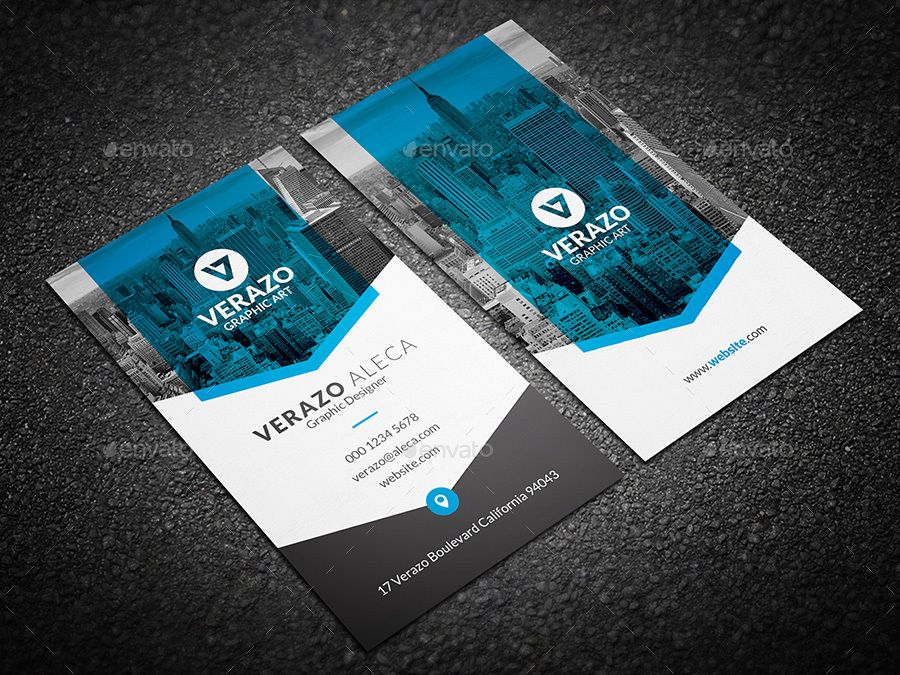 Clean Modern Vertical Business Card Template Amp