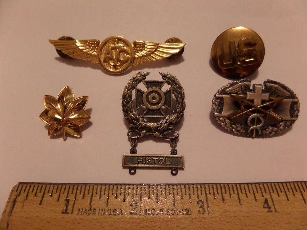 5 MIXED LOT MILITARY INSIGNIA HAT PINS AC GOLD FILLED WINGS & MORE