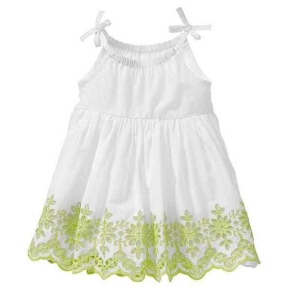 Gap Baby Girls Scalloped Eyelet Dress w/Decorative Bow - white ($33) found on Polyvore