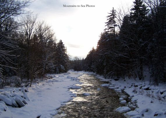 Vermont photo, winter décor, Deerfield River, evergreen trees, fine art print, rustic wall art, nature lover gift, 5x7 landscape photo by MountainsToSeaPhotos