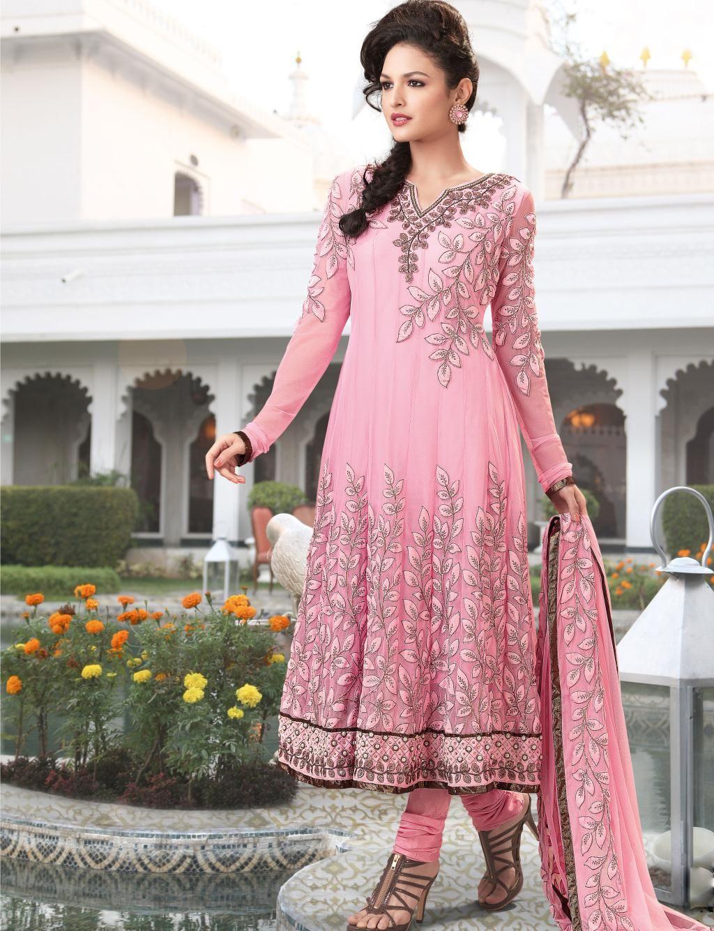 pink embroidery faux georgette anarkali salwar kameez