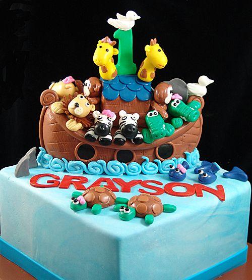 Noah S Ark 1st Birthday Cake Queen Cakes Cake Custom Birthday Cakes