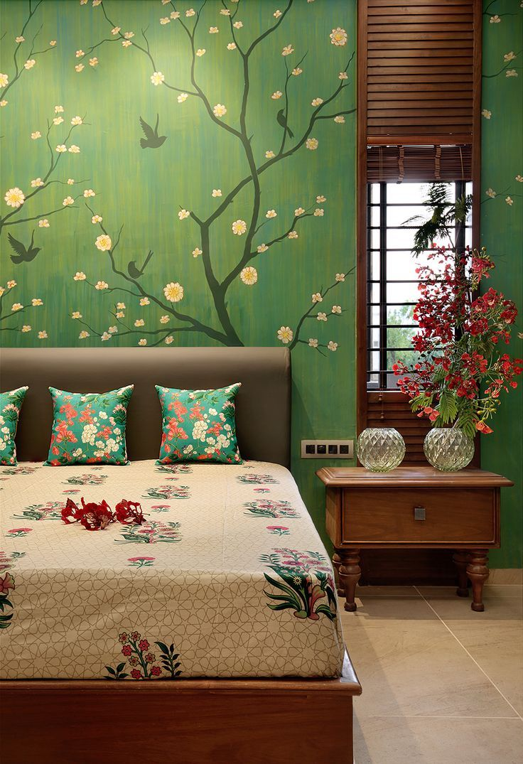 A Hand Painted Bedroom Wall Calculating Infinity Bedroom Hand Painted Wall Indian Bedroom Decor Indian Home Decor House Interior Decor