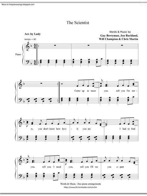 the scientist piano sheet music pdf