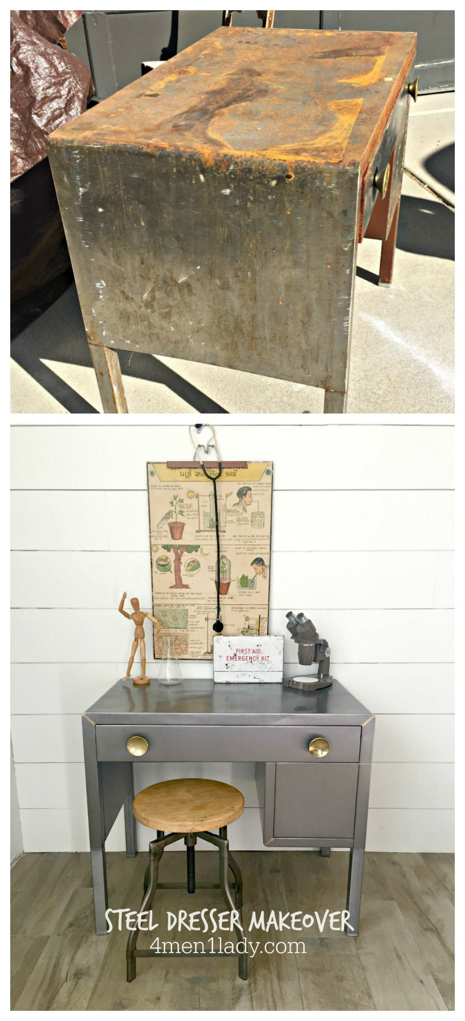 vintage industrial simmons metal side table. How To Take The Rust Off An Old Metal Dresser And Make It Shine Again. 4men1lady.com Vintage Industrial Simmons Side Table
