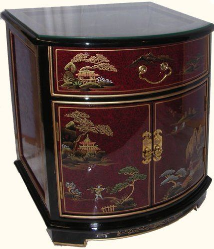 24 Inches High Oriental End Table Hand Painted Lacquer With Gl Top At Import Direct Pricing By Furnishings Save 40 Off 290 00